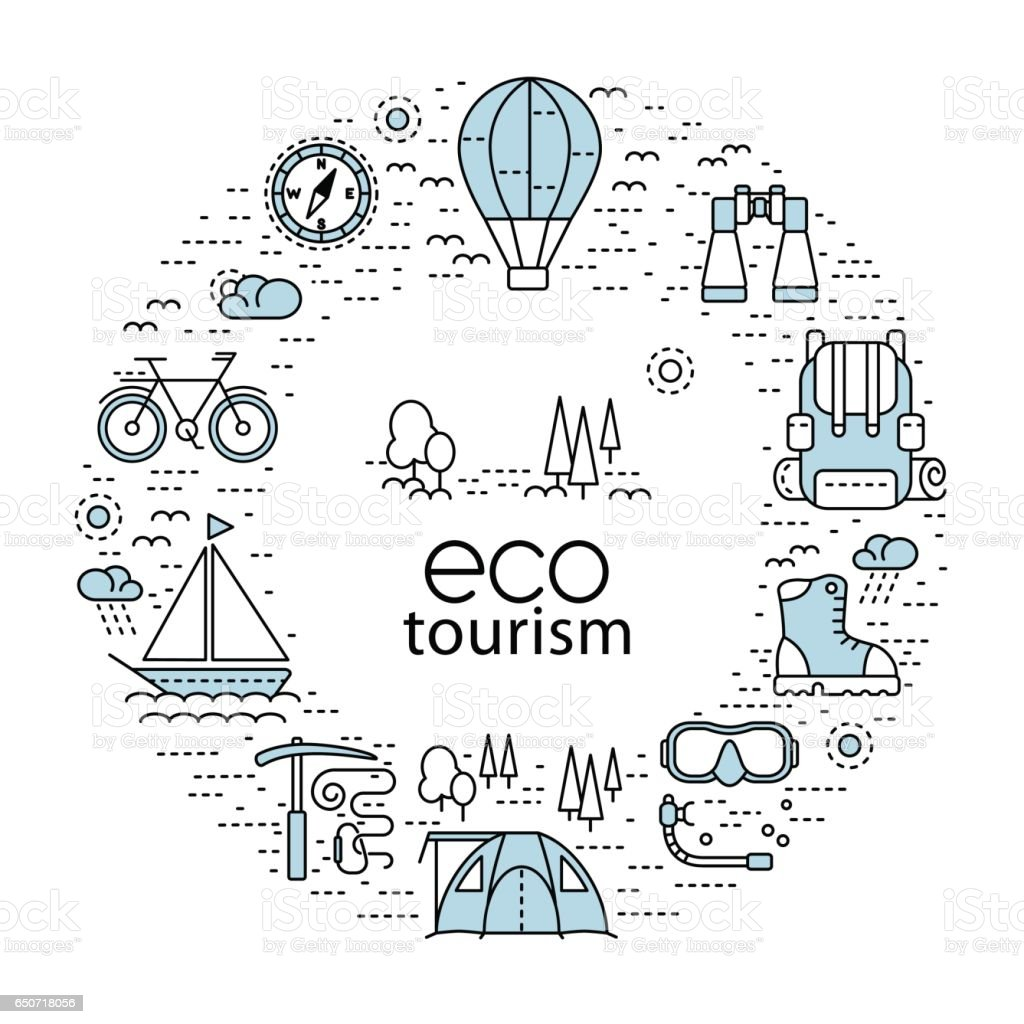 Eco tourism circle concept with modern line style icons vector art illustration
