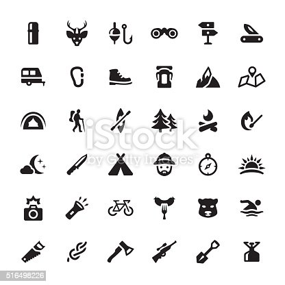 Eco Tourism & Hiking related symbols and icons.