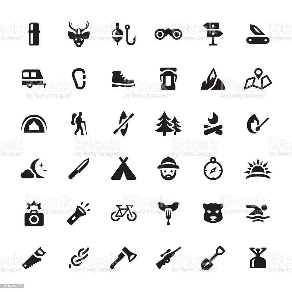 Eco Tourism & Hiking vector symbols and icons vector art illustration