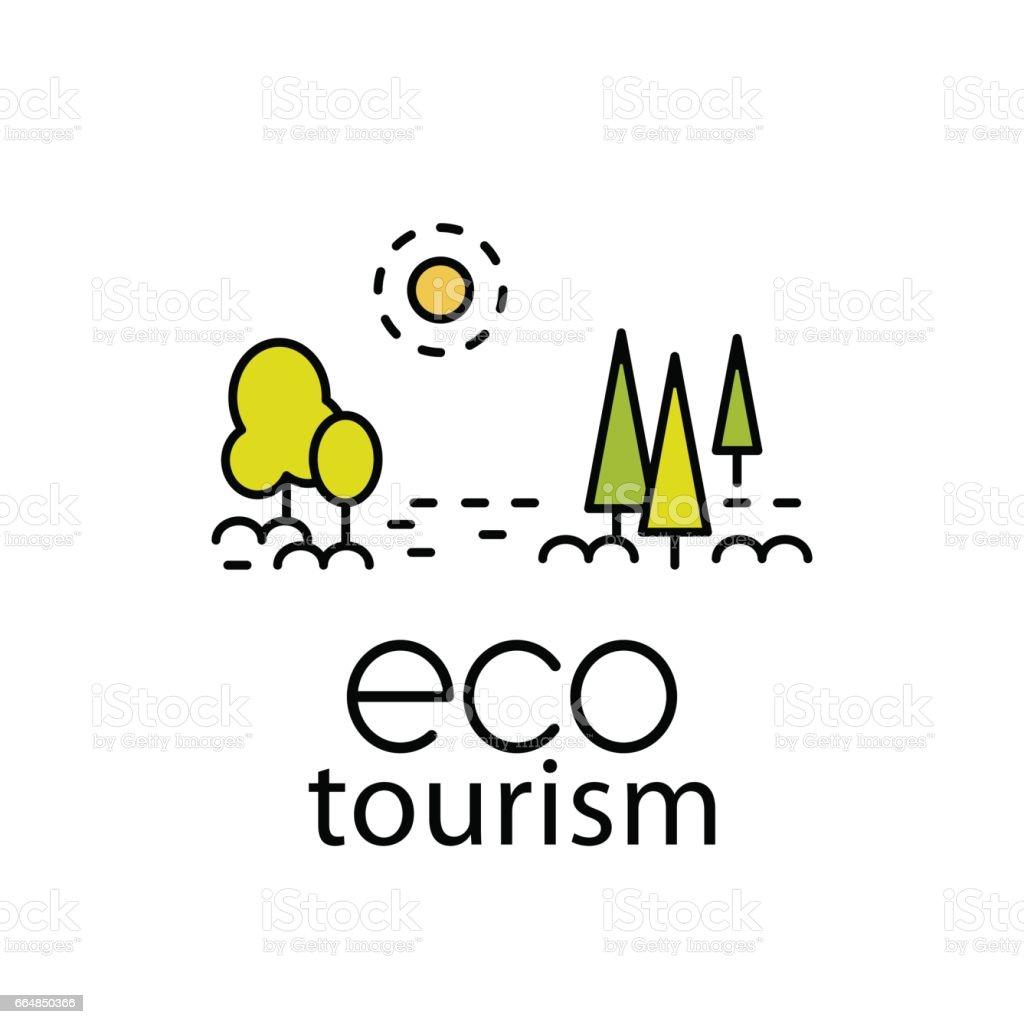 Eco tourism modern lflat style symbol for travel industry vector art illustration