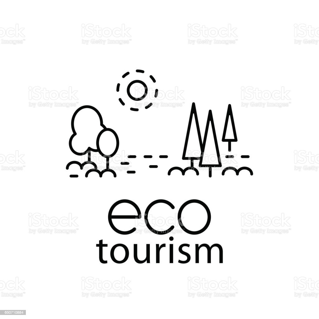 Eco tourism modern line style logo for travel industry vector art illustration