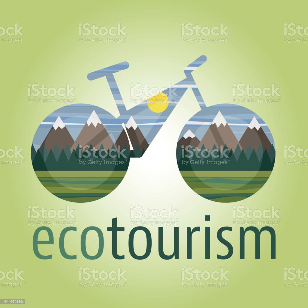 Eco tourism vector icon and logo with ecologic bike vector art illustration