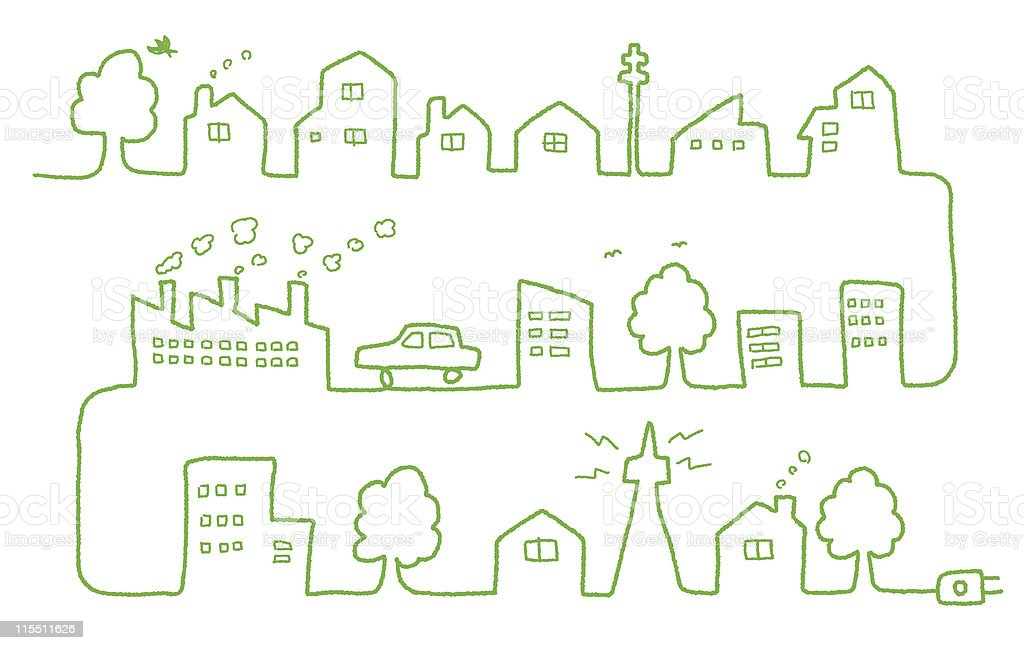 eco town vector art illustration