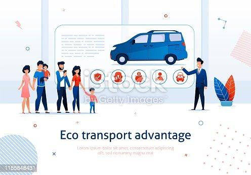 Eco Transport Advantage. Salesman Presentation to Cartoon Family Ecological Minivan Vector Illustration. Alternative Fuel Transport Benefit. Hybrid Engine Money Savings. Children Safety