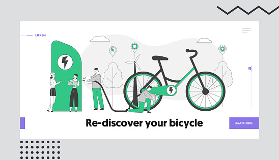 Eco Transport, Ecology Protection Healthy Lifestyle Landing Page Template. People Charging and Pumping Electric Bike. Characters Use E-Bicycle for Traveling, Sports Life. Linear Vector Illustration