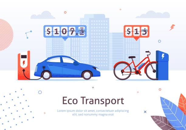 Eco Transport Electric Car and E-bike Charging Eco Transport. Electric Car and E-bike Charging Station Vector Illustration. Low Recharge Battery Price. Green Ecological Vehicle. Alternative Transport. Money Economy Savings. Environment Protection electric vehicle charging station stock illustrations