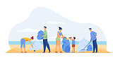 Eco volunteers cleaning sea or ocean beach from garbage. People, family with child collecting trash and sorting waste outdoors. Vector illustration for ecology, planet, nature