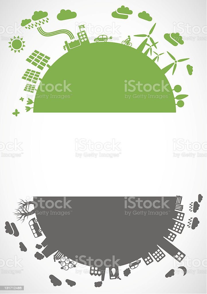eco vs. pollution - banner royalty-free eco vs pollution banner stock vector art & more images of abstract