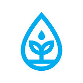 Eco water icon. Blue plant grows in water drop symbol isolated on white background. Vector illustration.