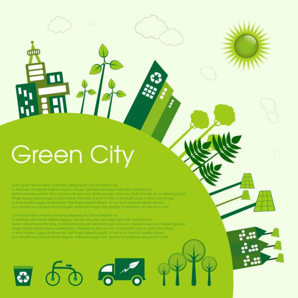 ilustrações de stock, clip art, desenhos animados e ícones de eco-city - sustainability