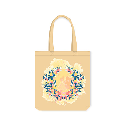 Eco-friendly bag with printed design. Decorative element in watercolor style on a canvas bag. Vector illustration isolated on a white background.