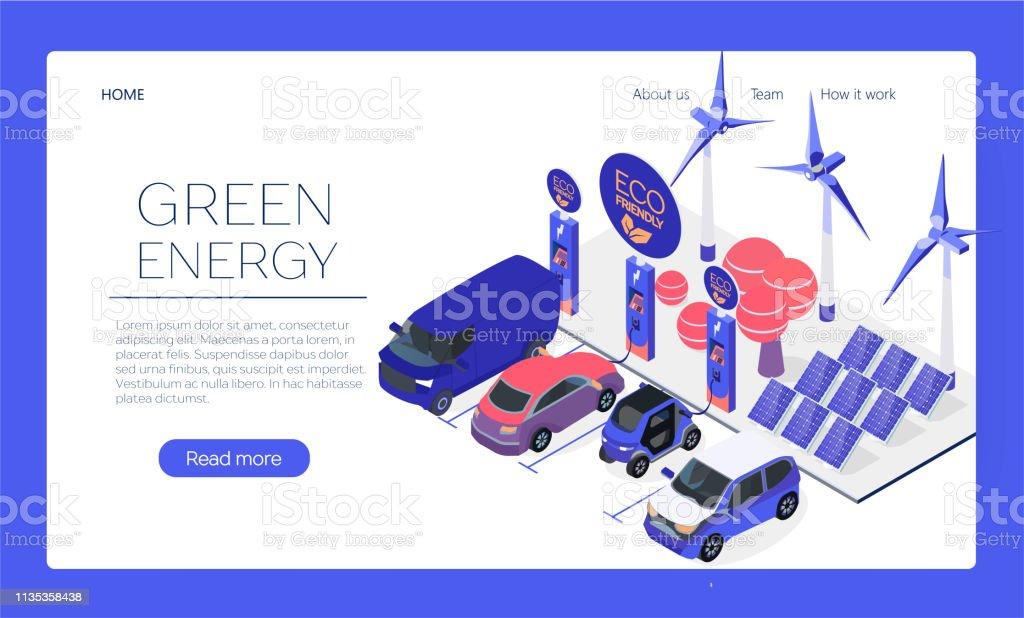 Concept De Page Web De Station De Recharge De Voiture Écoresponsable Le Véhicule Enfichable Obtient Lénergie De Lalimentation De La Batterie Soleil Et