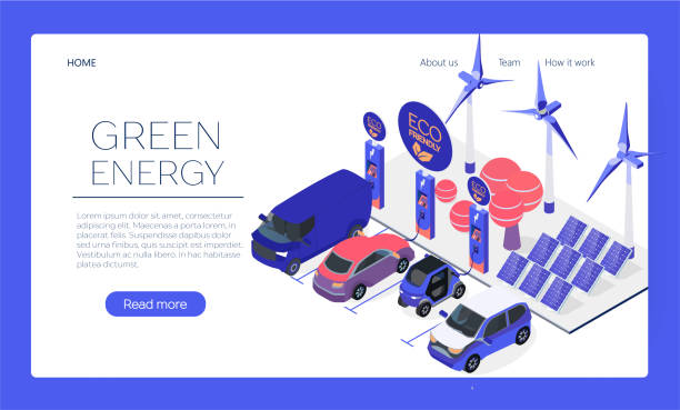 Eco-friendly car charging station web page concept. Plug-in vehicle getting energy from battery supply.Sun and wind energy. Solar panels and wind turbines. Isometric flat car charging web banner. Eco-friendly car charging station web page concept. Plug-in vehicle getting energy from battery supply.Sun and wind energy. Solar panels and wind turbines. Isometric flat car charging web banner. electric vehicle stock illustrations
