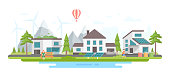 Eco-friendly city district - modern flat design style vector illustration on white background. Lovely landscape with small buildings, trees, windmills, pond, people, solar panels, mountains, bins