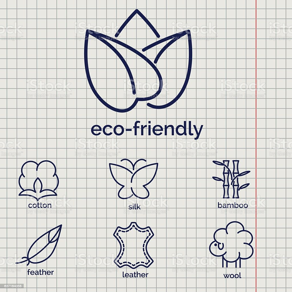 Eco-friendly fabric feature icons vector art illustration