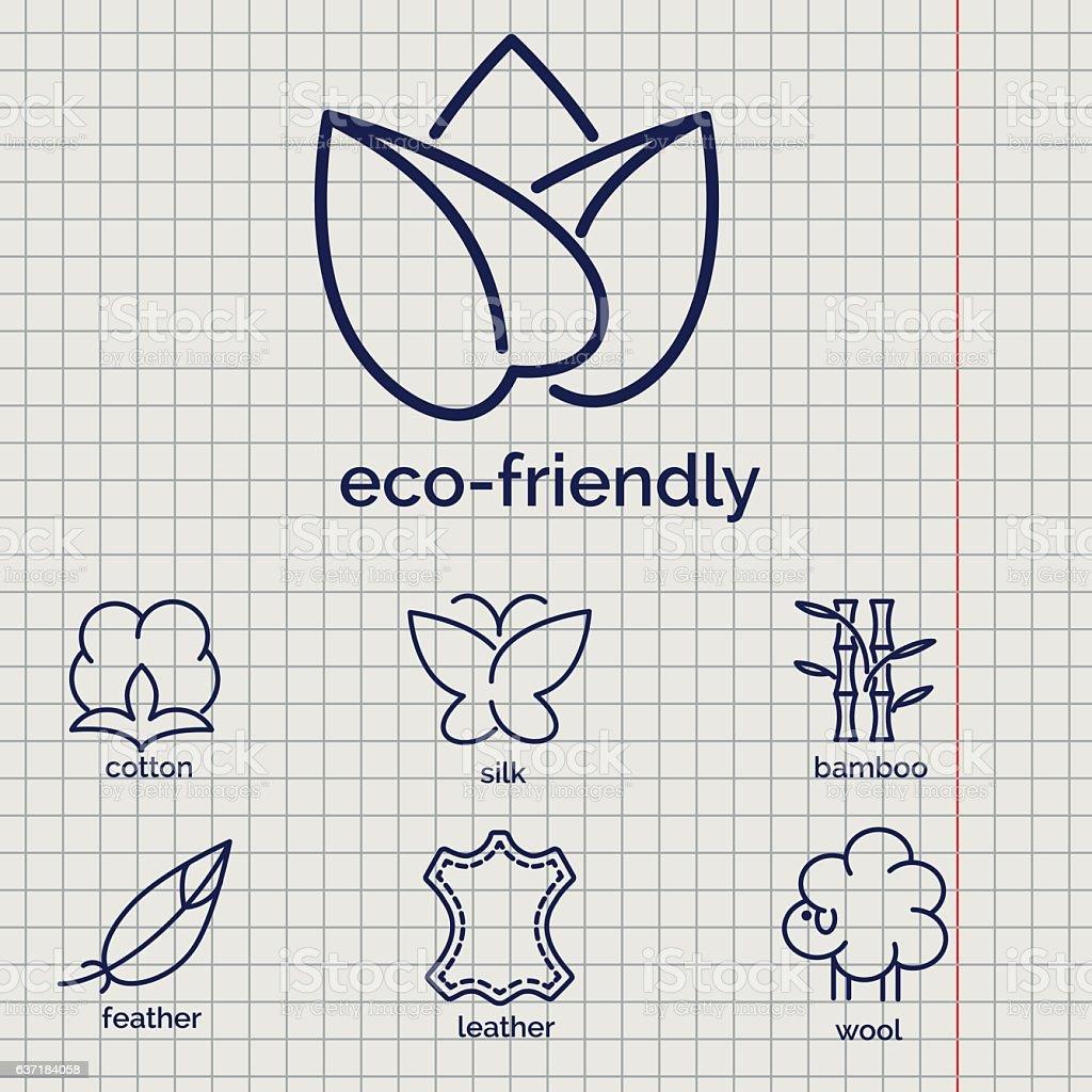 Eco-friendly fabric feature icons – Vektorgrafik