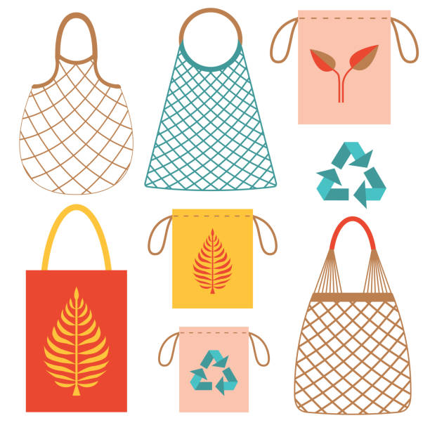 Eco-friendly Grocery String Bags Set vector art illustration
