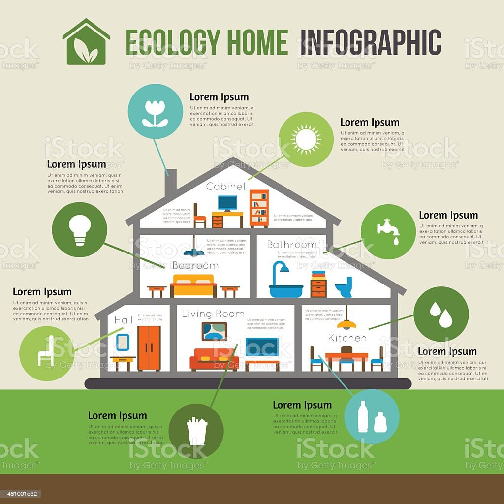 Eco Friendly Home House Design: Ecofriendly Home Infographic Stock Vector Art & More