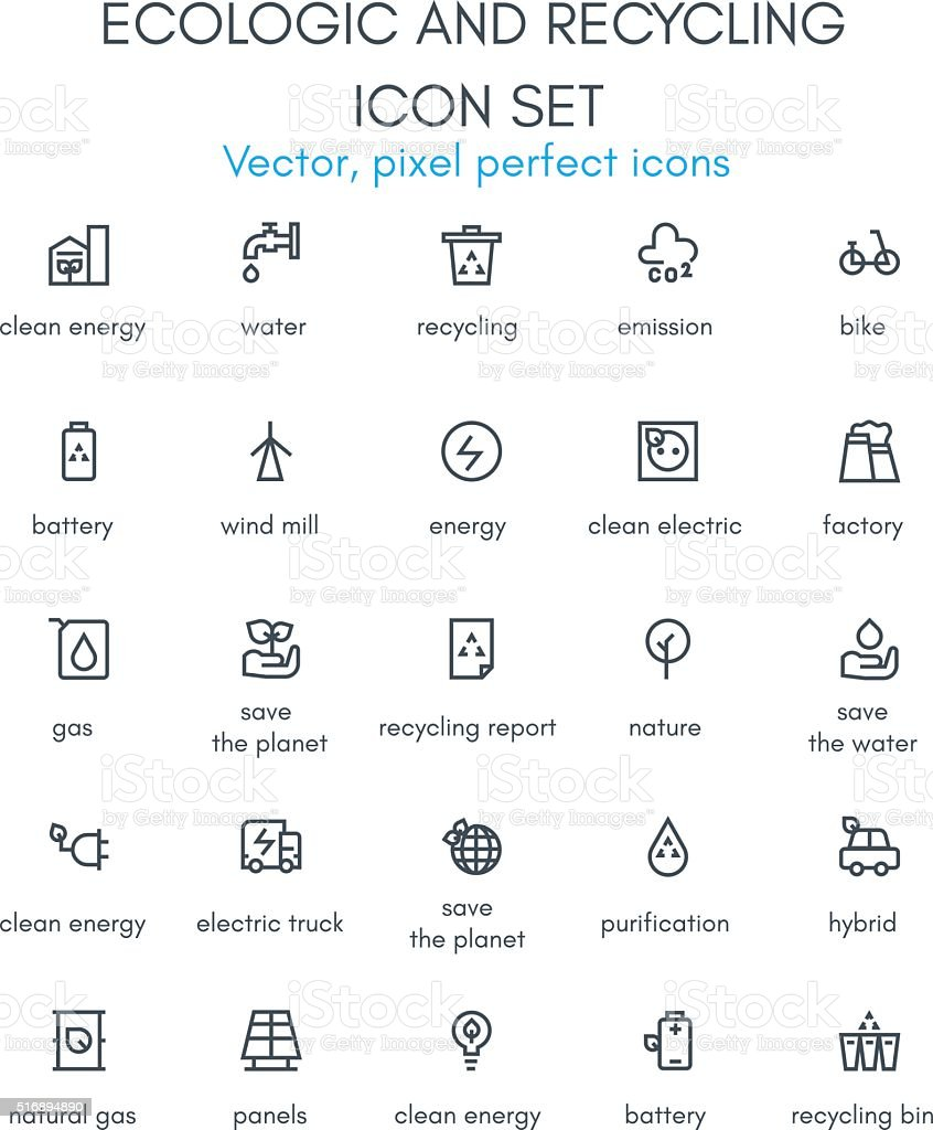 Ecologic and recycling line icon set. vector art illustration
