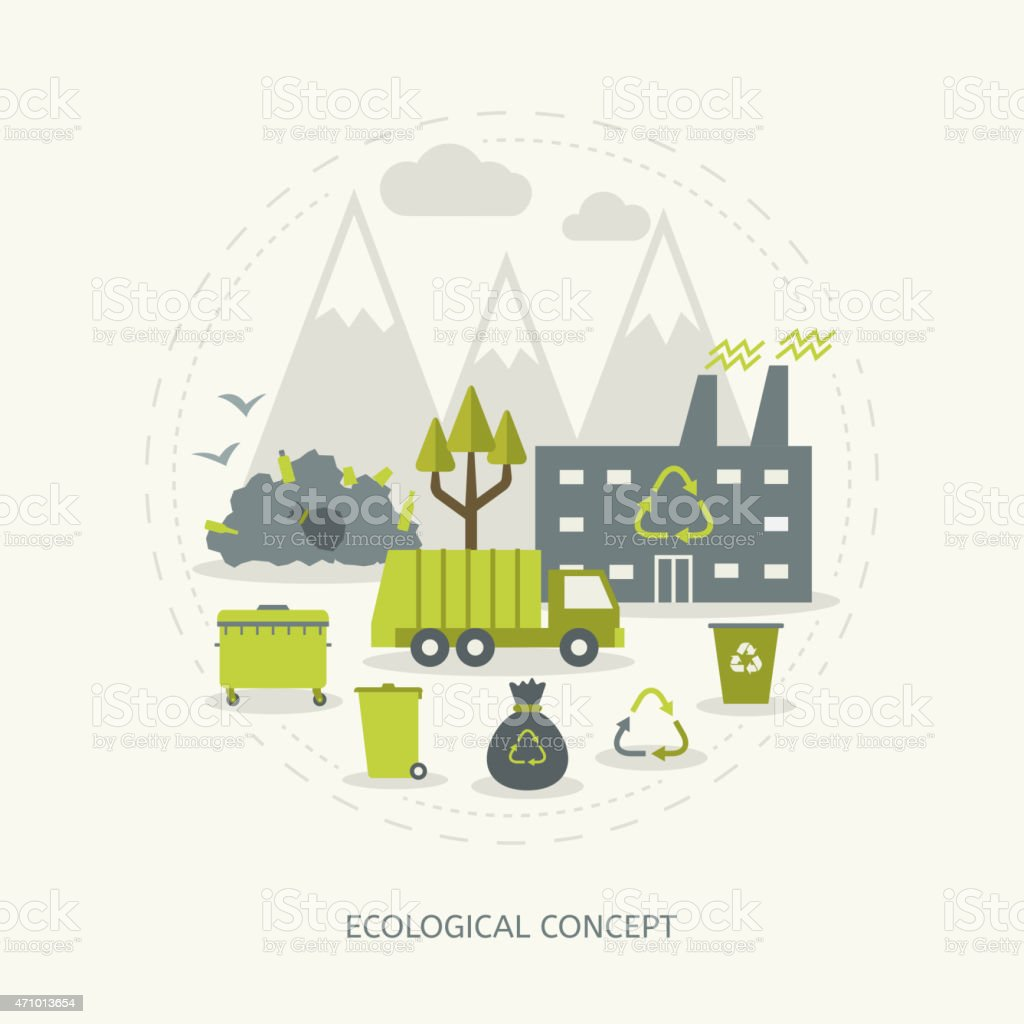 Ecologic concept in flat style vector art illustration