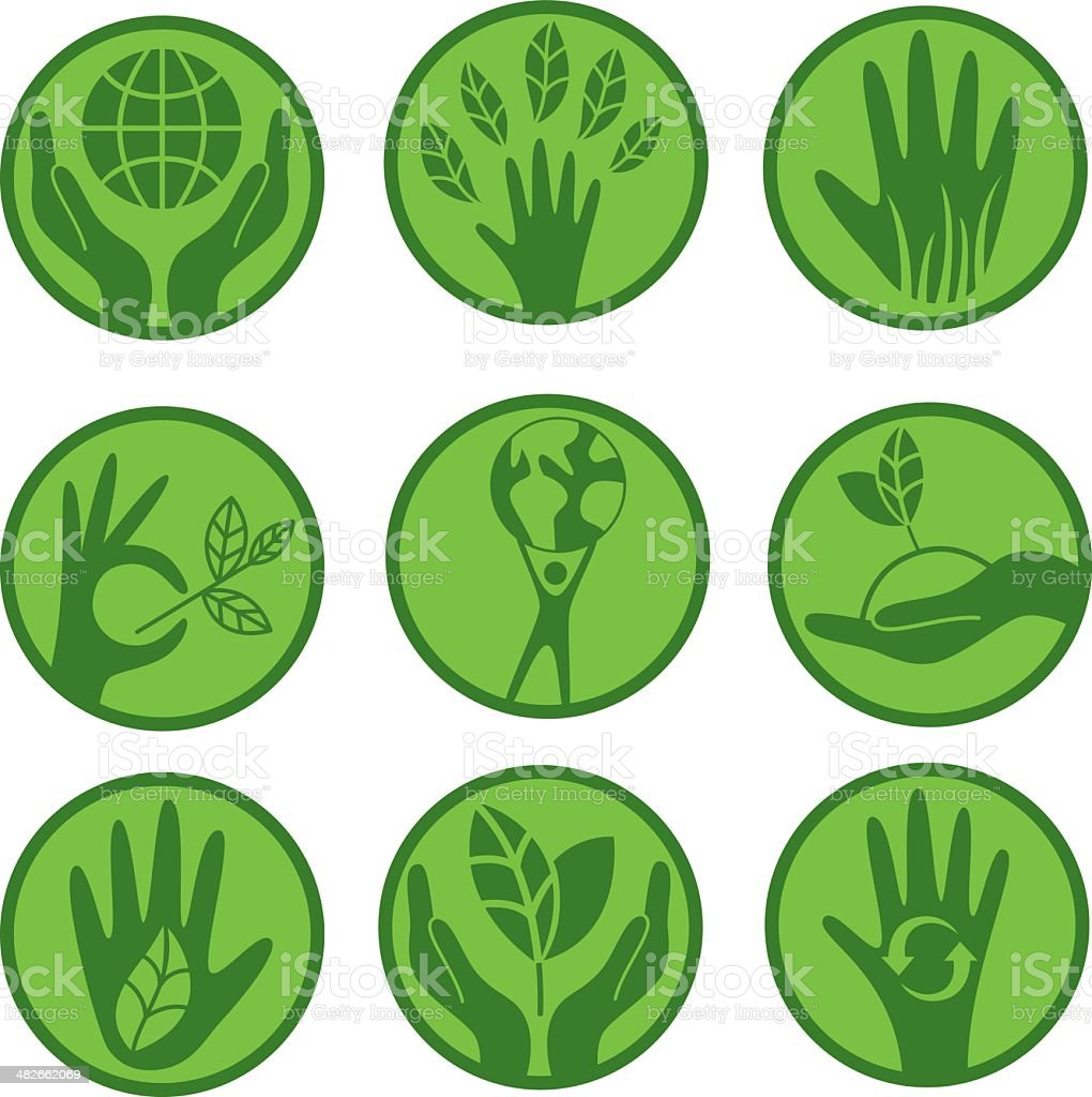 Ecologic concern icon set vector art illustration