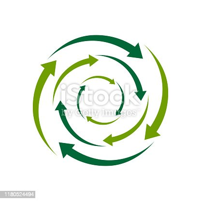 ecological circle arrows recycling logo. Recycle signs creative illustration concept.