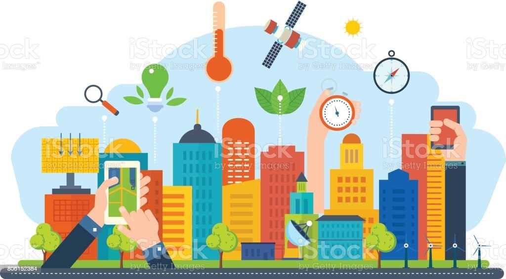 Ilustración de Concepto De Ciudad Ecológica Nueva Tecnología De ...