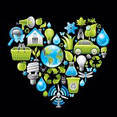 Ecological concept in heart on black background