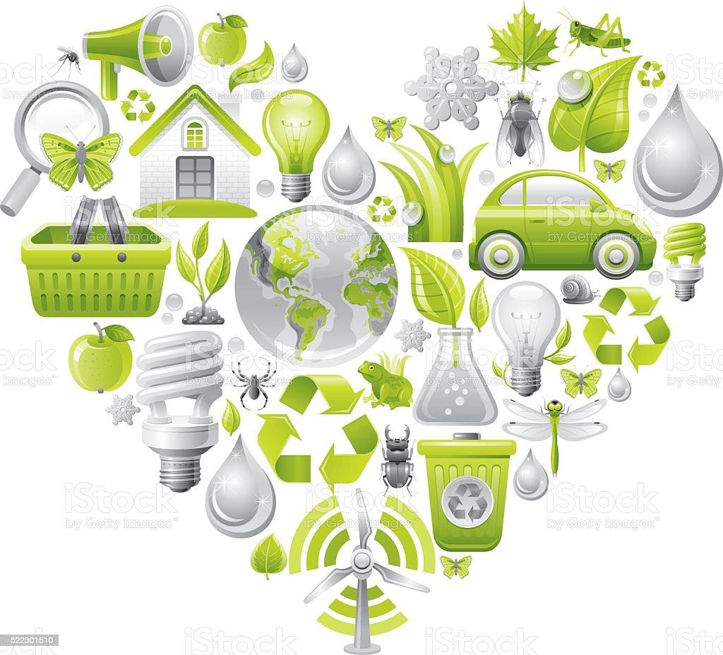 concept d'écologie avec coeur sur fond blanc - Illustration vectorielle