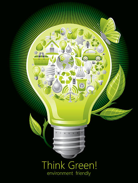 ecological concept with lightbulb on black background - dumpster fire stock illustrations