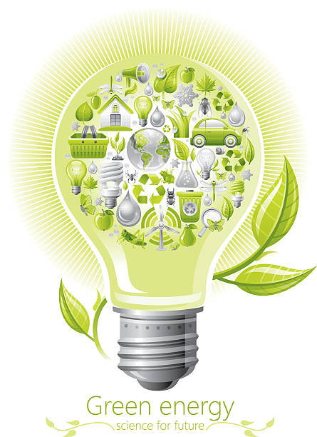 ecological concept with lightbulb on white background - dumpster fire stock illustrations