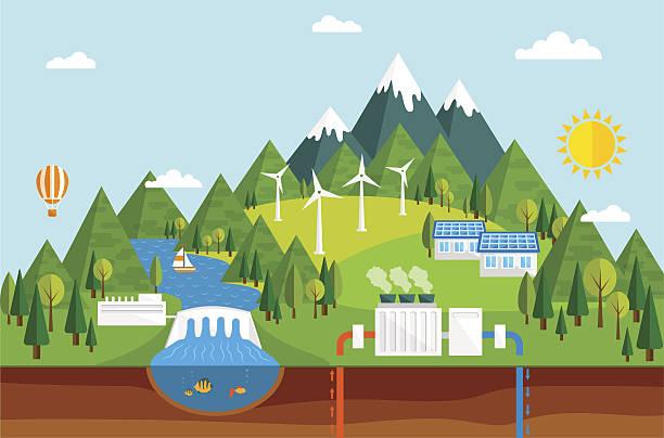 экологический источников энергии - энергия воды stock illustrations