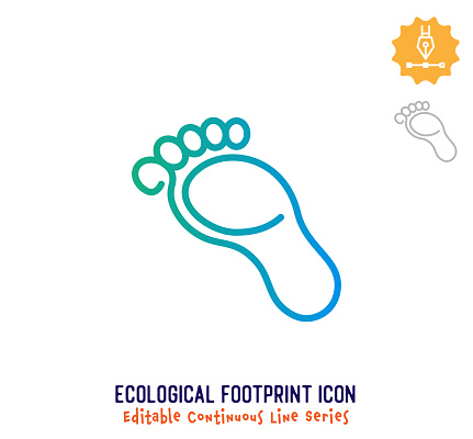 Ecological Footprint Continuous Line Editable Icon