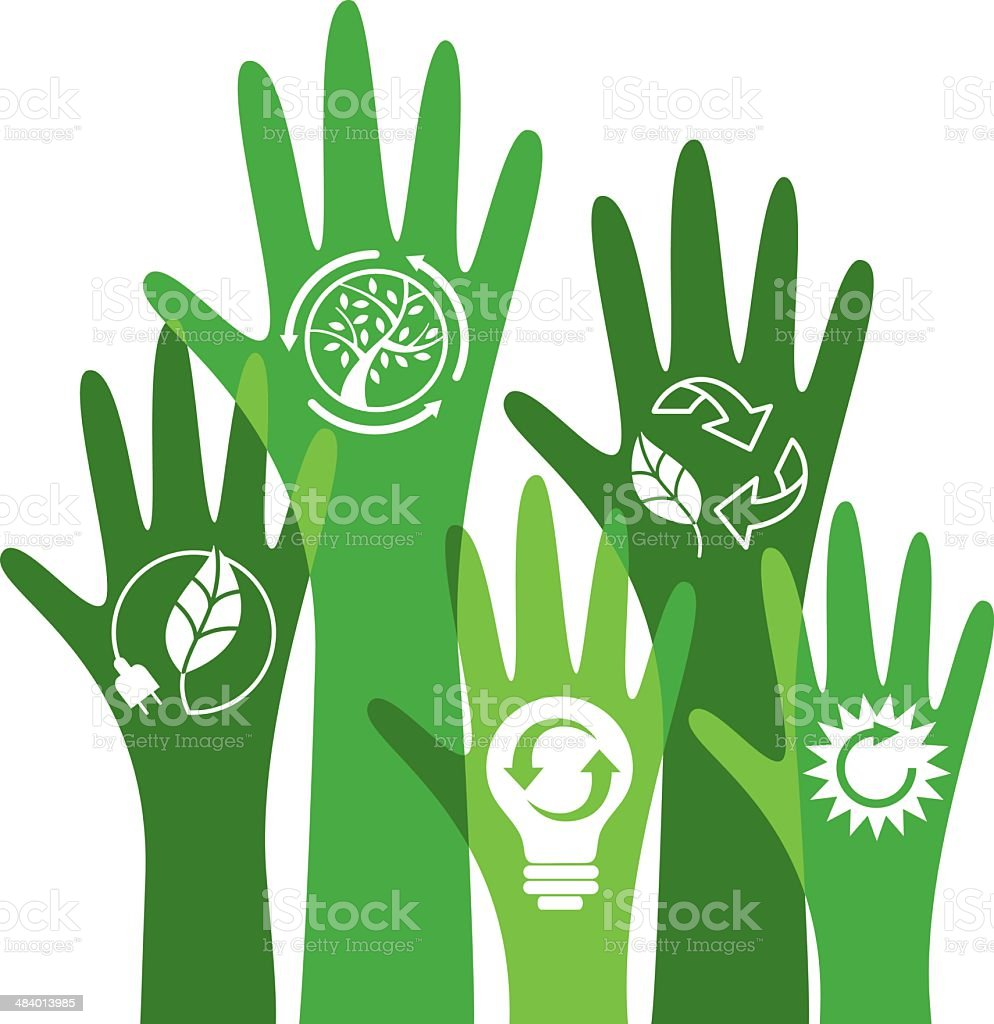 Ecological hands voting vector art illustration