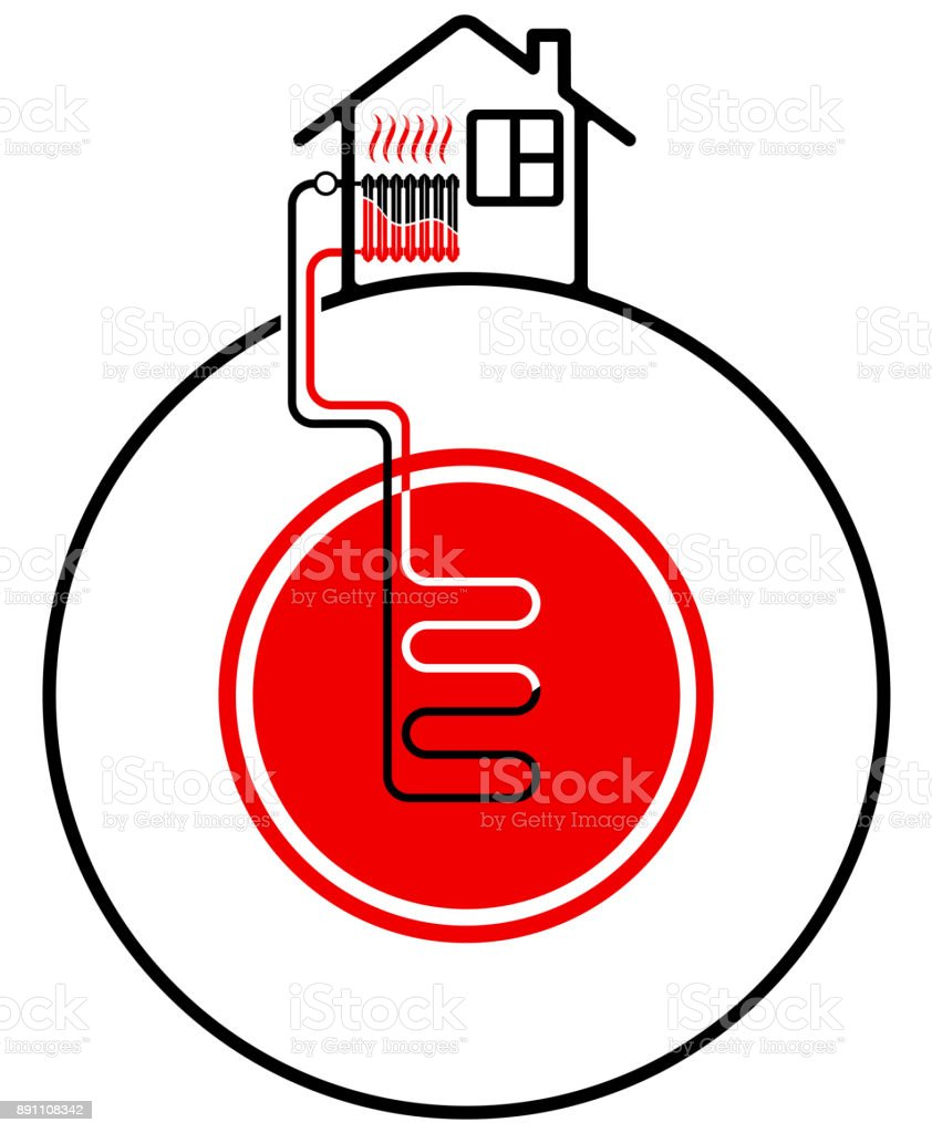 Ecological heating of the house with the help of renewable energy sources. Geothermal heat source. vector art illustration