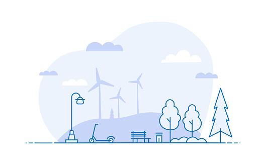 Ecological Lifestyle Landscape Scene - Line Illustration Concept with Editable Stroke