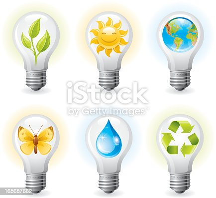 Ecological lightbulbs icon set with different nature friendly symbols - green sprout, smiling sun, the Earth, yellow butterfly, clean water drop, recycling symbol. CDR-11, AI -10, JPG.