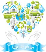 Ecological poster with ecological heart and hands