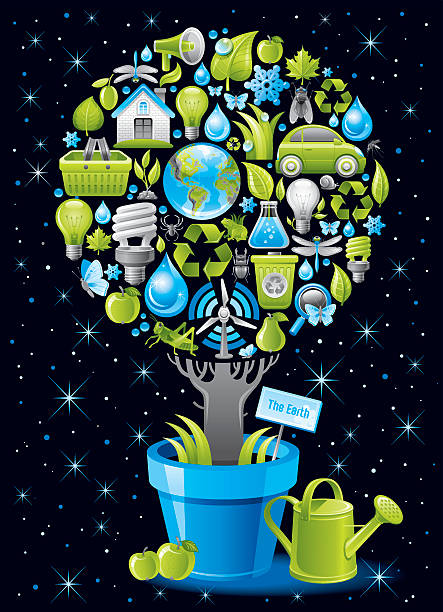 affiche écologique avec arbre dans pot de fleurs sur fond noir - Illustration vectorielle