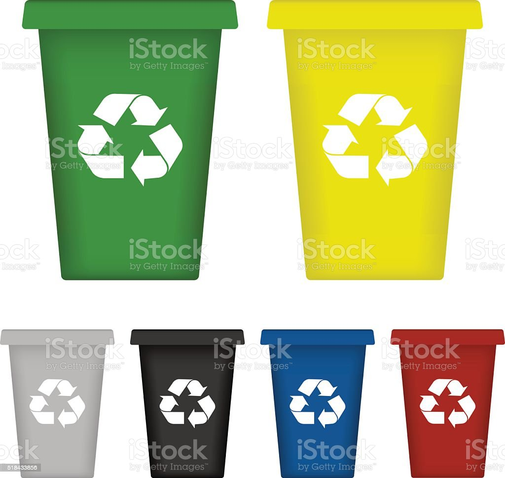 Ecological trash set. Vector vector art illustration