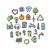 Ecological vector icons. Hand drawn ecology and nature healthy lifestyle icons