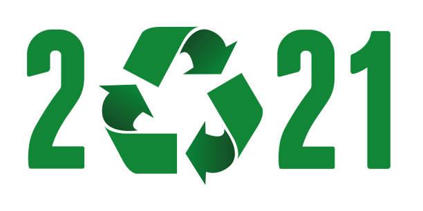 ökologische wünsche 2021 zum konzept des umweltschutzes und des abfallrecyclings. - altglas stock-grafiken, -clipart, -cartoons und -symbole
