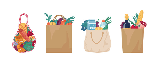 Ecologically friendly bags and packaging made of string, mesh, cotton cloth textile and paper. Set of reusable packets for shopping, zero waste and plastic free. Eco grocery shopping packs vector
