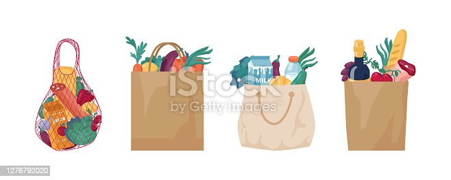 istock Ecologically friendly bags and packaging made of string, mesh, cotton cloth textile and paper. Set of reusable packets for shopping, zero waste and plastic free. Eco grocery shopping packs vector 1276792020