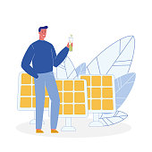 Ecologist, Solar Panels Flat Vector Illustration