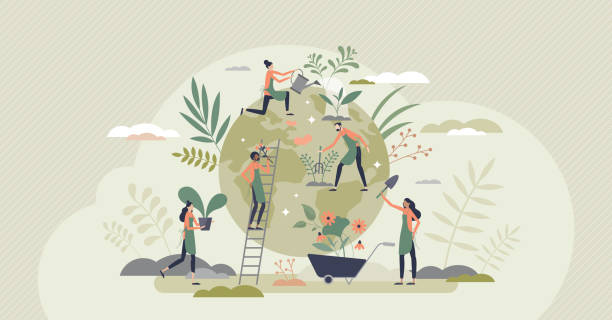 Ecology agriculture and green sustainable harvesting tiny person concept vector art illustration