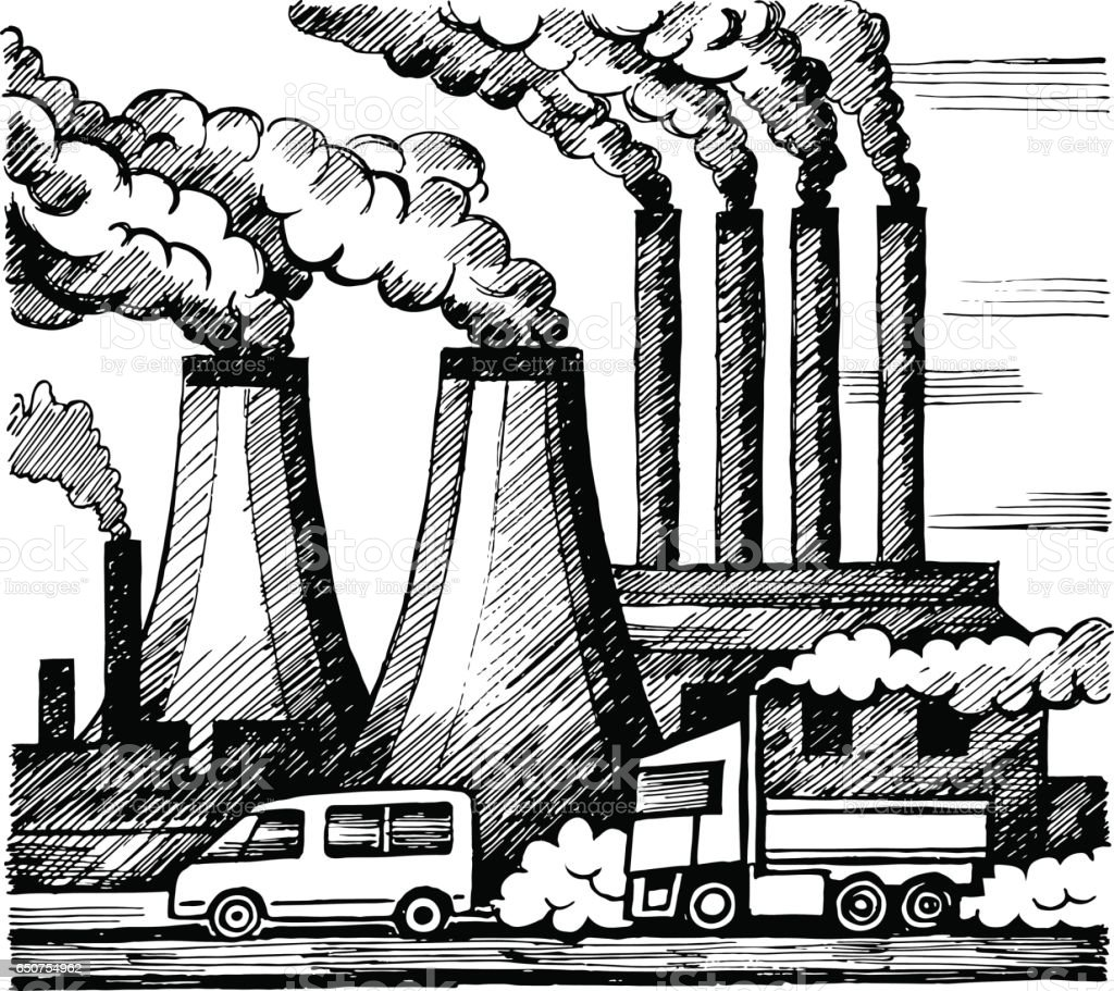 Ecology air and atmosphere pollution vector art illustration