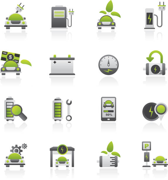 Ecology and Electric Car icons Ecology and Electric Car icons - vector icon set electric vehicle charging station stock illustrations
