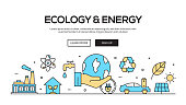 Ecology And Energy Flat Line Web Banner Design