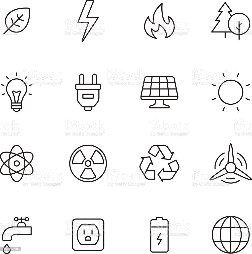 Ecology and Energy Icons vector art illustration